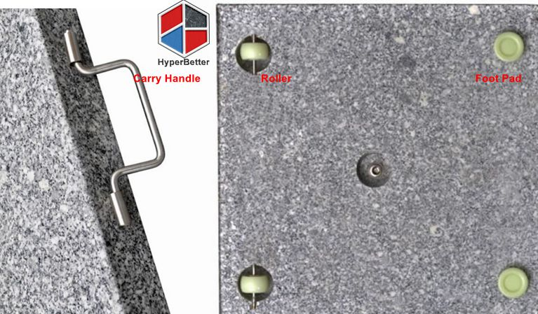 Carry handle with wheels for granite umbrella base