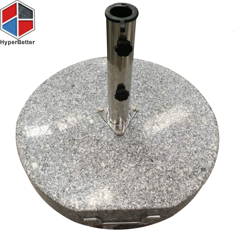60KGS round granite umbrella base stand triangle steel plate 3 hole