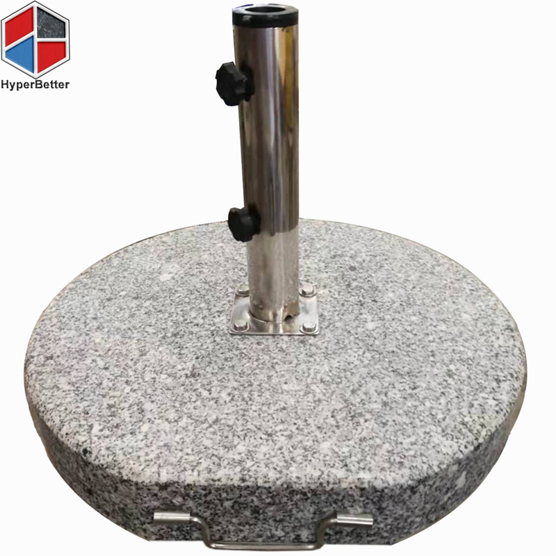 50KGS round granite umbrella base 304 ss tube 4 holes